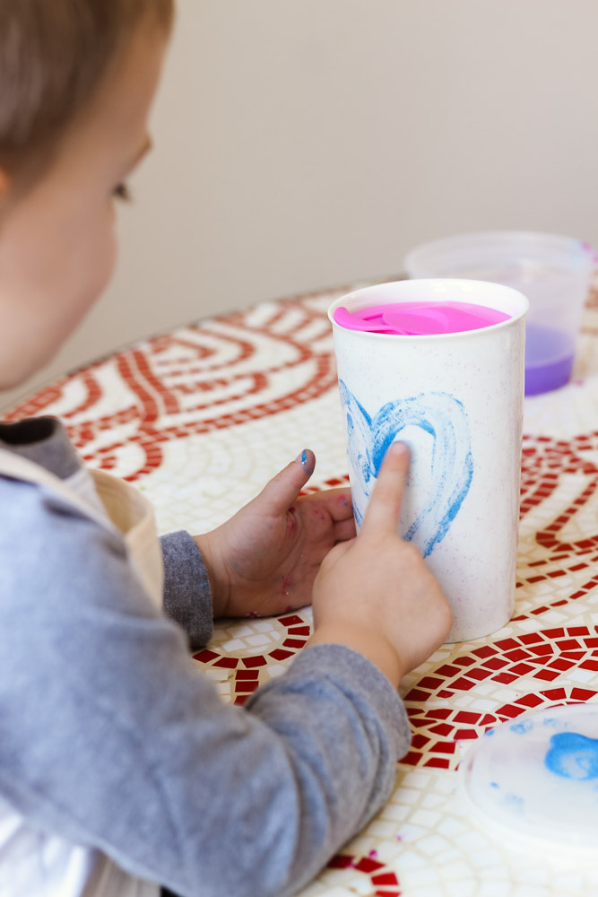 Heart crafts for toddlers_finger painting heart on mug