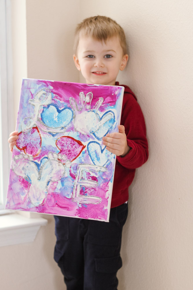 Heart crafts for toddlers_toddler with love canvas