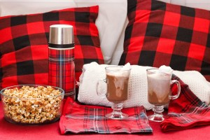 A Simple Valentines Date Idea featured by top US lifestyle blog, Baby Castan on Board: image of a picnic basked with gourmet hot chocolate essentials