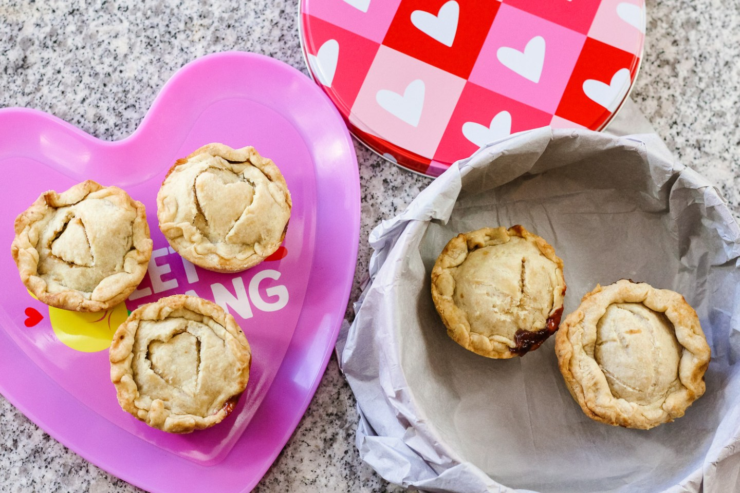 Valentine's Day Treats_mini pies in tin and plate