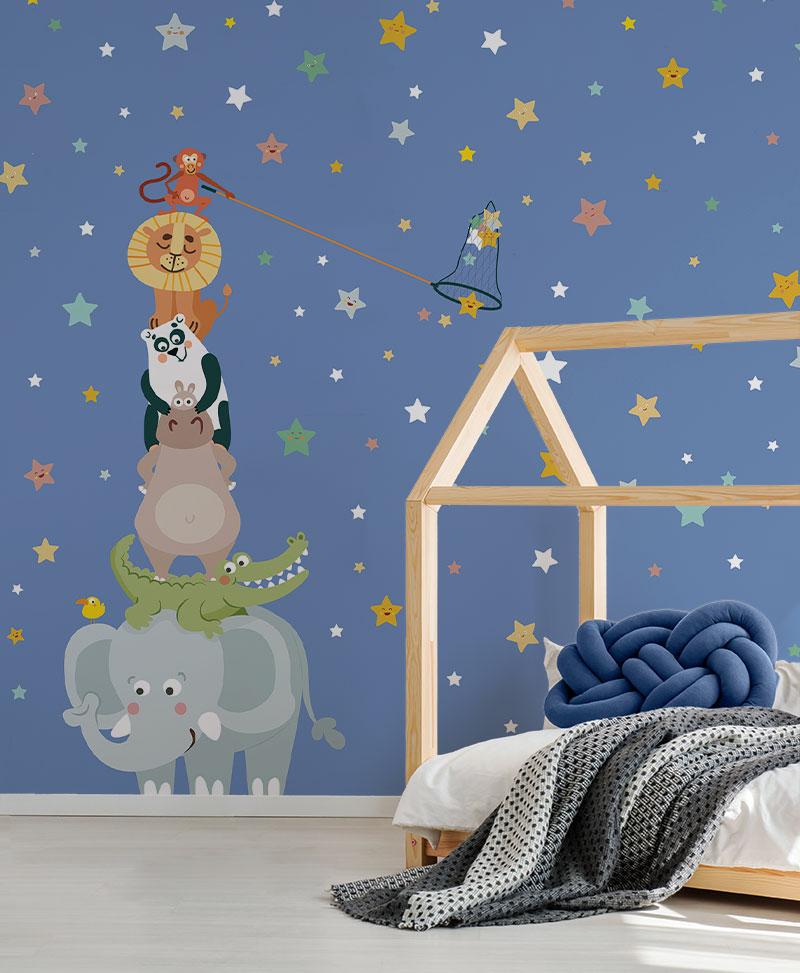 carta da parati per un tocco moderno   150 mq modern living room. Gli Acchiappa Stelle Blue Carta Da Parati Baby Interior Design Wallpaper