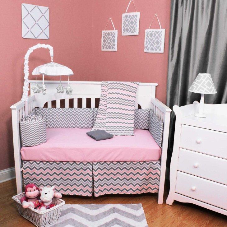 Purple Chevron Crib Bedding Set