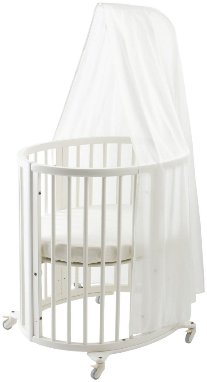 Stokke Sleepi Mini Crib Bundle With Mattress And Drape Rod Round