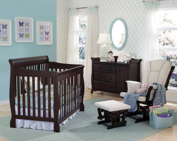 Baby Nursery with Dark Wood Furniture