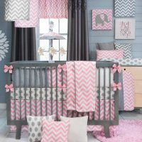 Pink And Gray Nursery Bedding