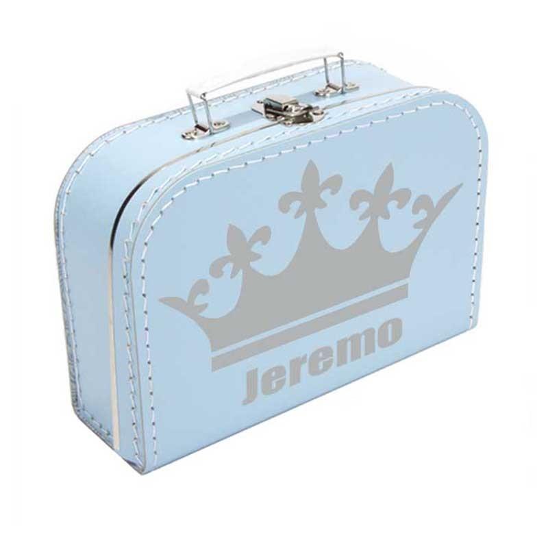 Koffer bedrukt met naam en kroon  Kraamcadeau kopen