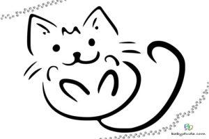 Ausmalbild Katzenkopf   Cartoon Bild