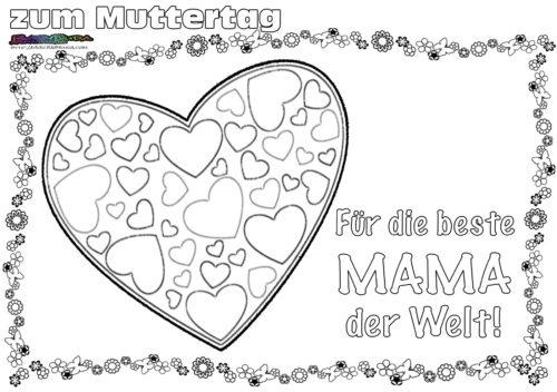 Muttertag Ausmalbild & Malvorlage Gruß mit Herz BabyDuda