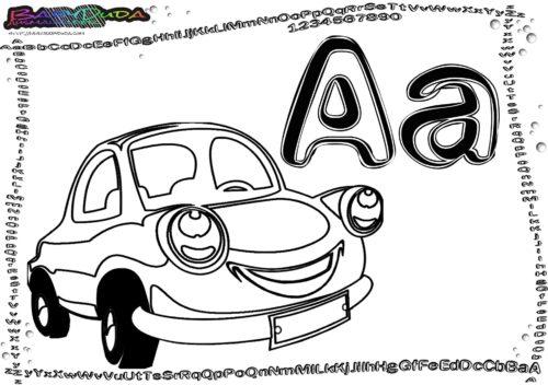 ABC Buchstaben Malvorlagen - Fahrzeuge zum Ausmalen