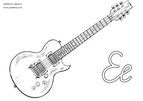 Malvorlage E Gitarre - tippsvorlage - tippsvorlage