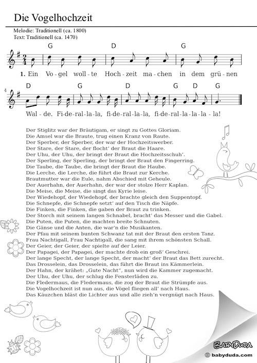 Die Vogelhochzeit  Kinderlied  Bewegungslied  BabyDuda