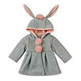 Sharemen Baby Infant Girls Autumn Winter Warm Coat Hooded Clothes (0-12Months, Gray)