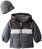 London Fog Baby Pieced Puffer Coat With Hat, Grey, 24 Months