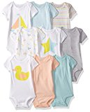 Carter's Baby Infant 9-Pack Grow With Me Bodysuit Set, Duck Star, NB-3M-6M