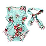 Goodlock Newborn Infant Toddler Fashion Clothes Set Baby Girls Floral Romper Jumpsuit Sunsuit Outfits Set 2Pcs (Green, Size:12M)