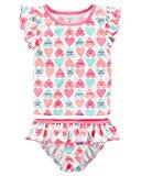 Carter's Girls' Short Sleeve Rash Guard Swimsuit Set (Baby/Toddler/Kid) (12 Months, White/Candy Heart)