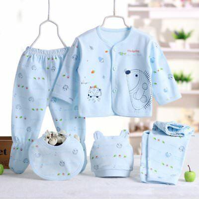 0-3M 5pcs Newborn Baby Cotton T-Shirt + Long Pants Boy Girl Suits Clothes Sets