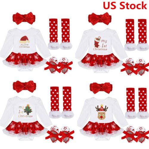 US Girls Infant My Baby First Christmas Outfit Romper Tutu Skirts Headband 4PCS