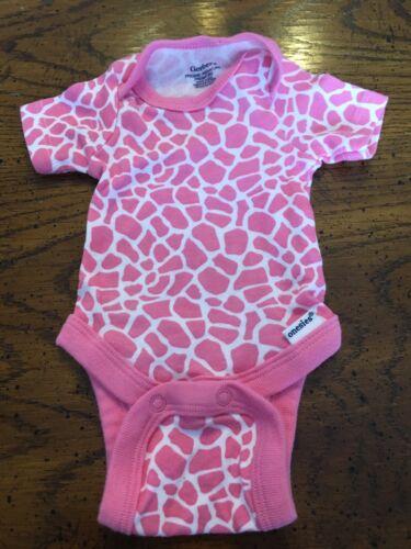 Infant Girl's PREEMIE Short Sleeve Gerber Onesie, Pink Animal Print, Nice!