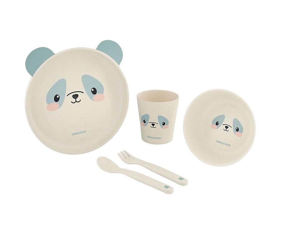 Service de table en bambou Panda Bleu