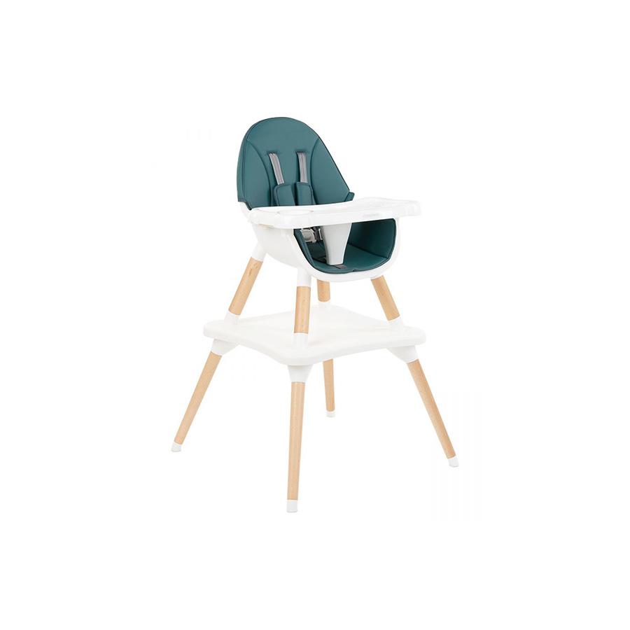 Chaise haute en bois Multi 3in1 Vert Pétrole