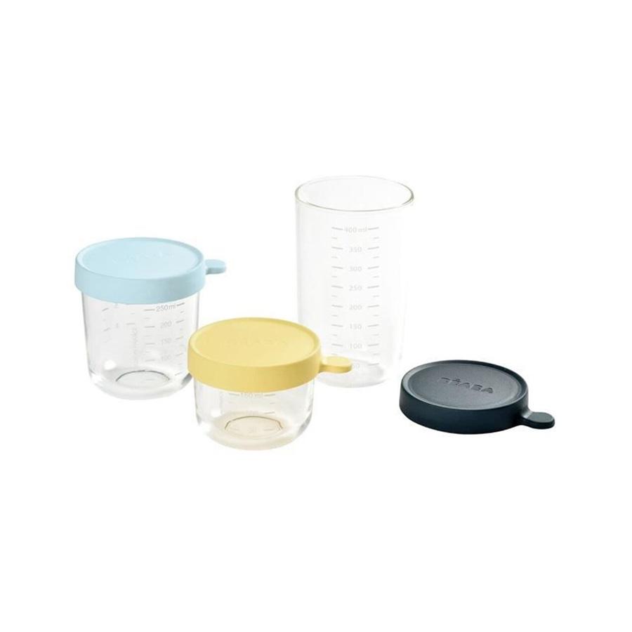Coffret 3 pots de conservation en verre Béaba jaune 150 mL, bleu 250 mL & bleu marine 400 mL