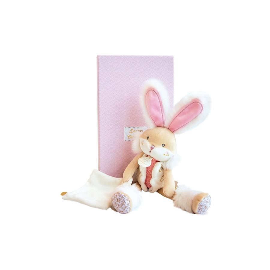 Lapin de sucre rose – pantin avec doudou