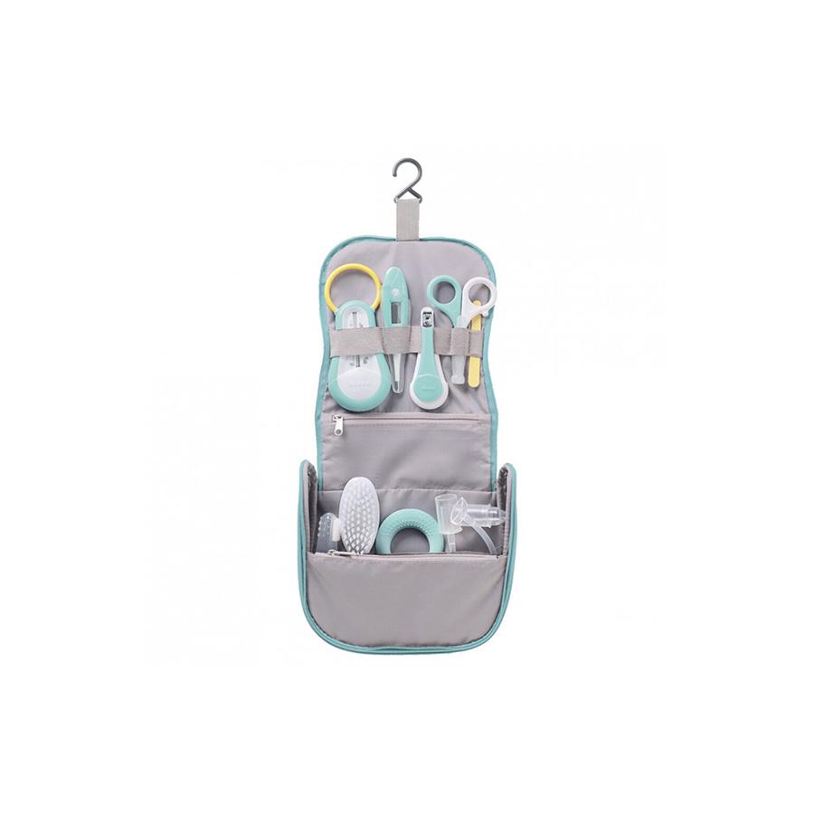 Trousse de toilette nomade verte 9 accessoires