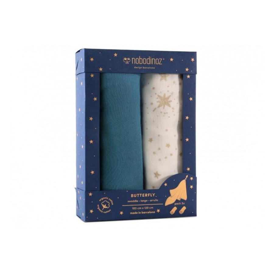 Nobodinoz – Boîte de 2 langes – Butterfly – Bleu