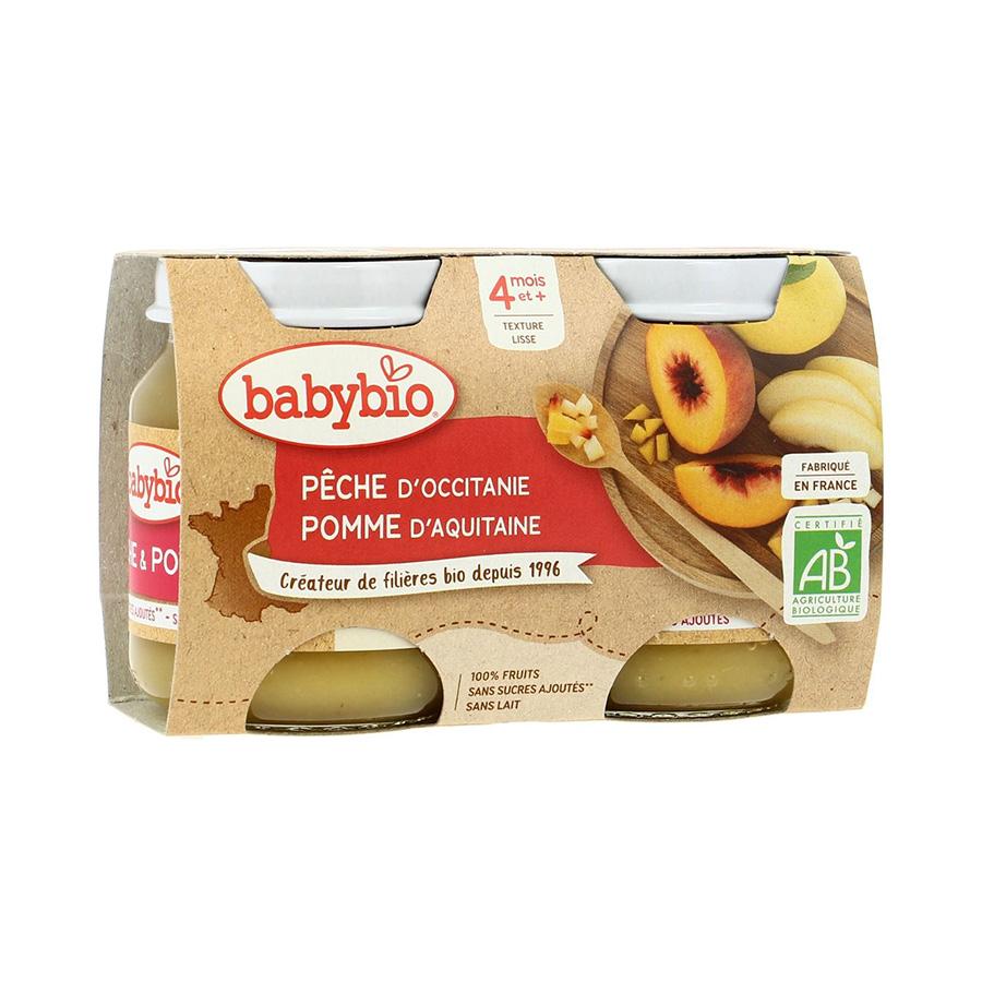 Babybio – Pot pêche pomme 2*130gr