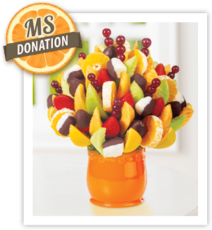 Help support the fight against MS with an Edible Arrangements' Orange Blossom® with chocolate dipped strawberries and bananas arrangement in the month of March at participating New England locations.