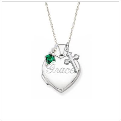 girls personalized heart locket