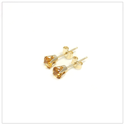 4mm Gold Birthstone Earrings November