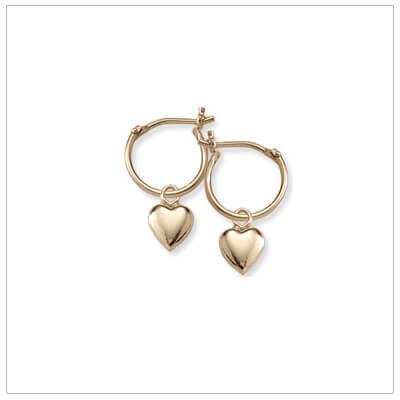 14kt Gold Heart Hoop Earrings
