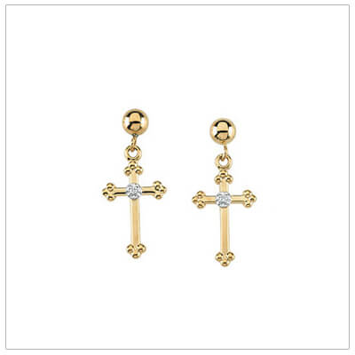 14kt Gold Diamond Cross Earrings