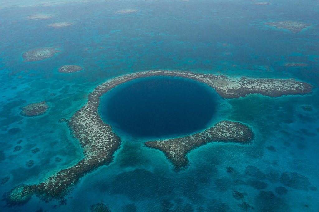 Photo of the Great Blue Hole off the coast of Belize