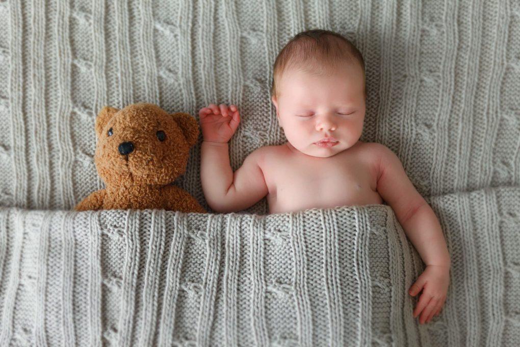 Bebê e bicho de pelúcia