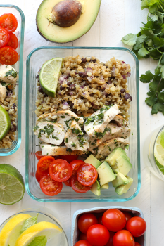 Meal-Prep Cilantro Lime Chicken with Cauliflower Rice served in a glass container