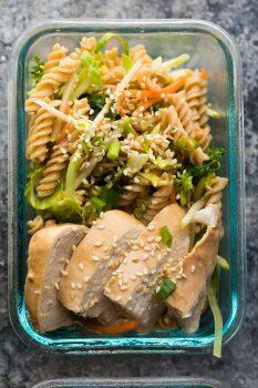 Meal Prep Sesame Chicken Pasta Salad