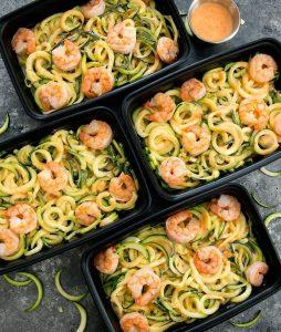 close-up overhead photo of Skinny Bang Bang Zucchini Noodles