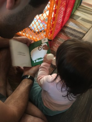 Tilly and Daddy reading What Do You Wear