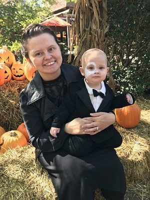 Marian dressed as Phantom of the Opera for Halloween