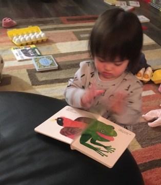 Tilly reading Brown Bear Brown Bear
