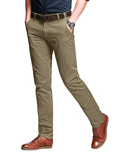 Pantalons Casual Slim Tapered Stretch pour Homme #8050(8050 Pale Kaki#10(Light Khaki#10),30(FR 40))