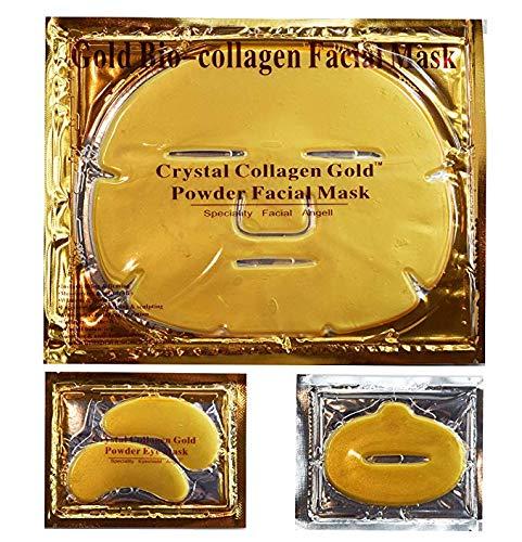 24 K Or Bio CollagèNe Cristal Masque Visage, 7 X Facial Masques + 7 X Eye Masques + 7 X Masques De LèVres. Soins De La Peau Anti-âGe, Anti Rides, Hydratant, Ferme, éClaircir La Peau