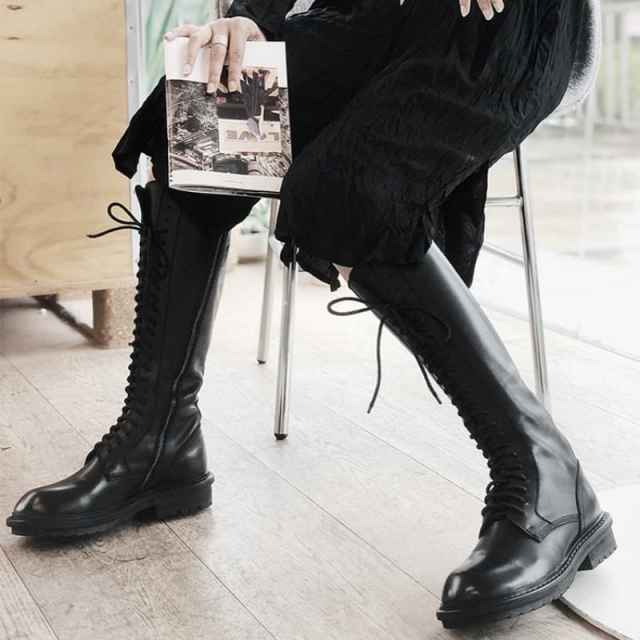 Bottes longues femmes à lacets en cuir véritable pas cher, mode 2020