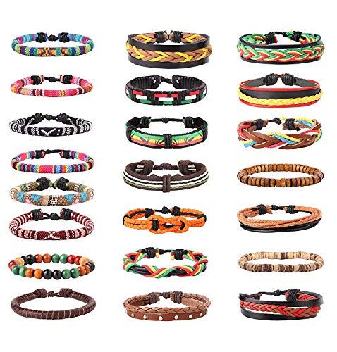 22 Pcs Lot Bracelets Vintage Bracelet en Cuir Perles de Bois Homme Femme Tribal Ethnique Boho Bracelet Tricoté