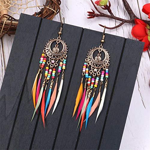 Boucles d'oreilles de plumes de Bohême exquises perles ethniques colorées boucles d'oreilles à long goutte fantaisie (or)