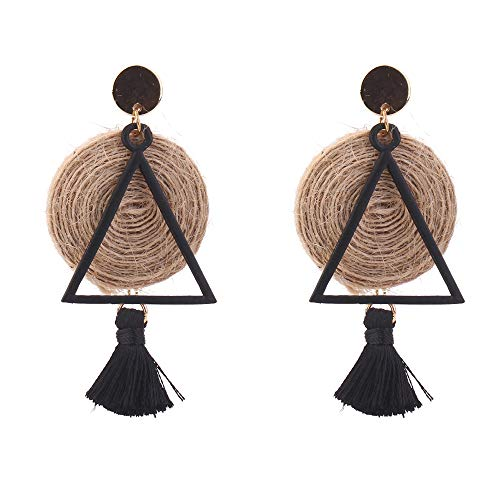 YAZILIND Boucles d'oreilles Chanvre Corde Tissage Gland Pendentif Drop Bijoux Ethniques Style pour Femmes (Noir)