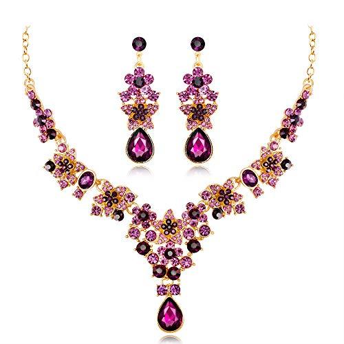 Parure de Bijoux Tendance Collier et Boucles d'Oreilles en Strass pour Mariage, Bal de Fin d'année, etc(Couleur)